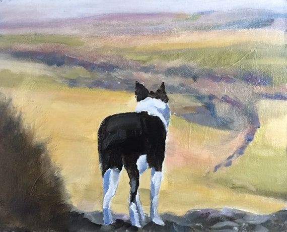 Dog on Hill Painting dog Art PRINT Country Dog - Art Print - from original painting by J Coates