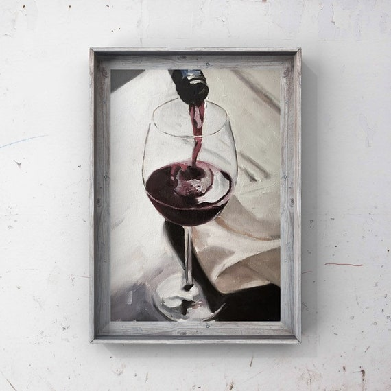 Red Wine Painting, Wine Art Wine PRINT - Art Print  - from original painting by J Coates