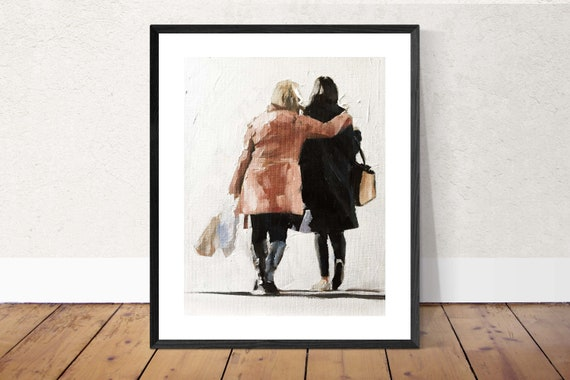 Best Friends Painting Girlfriends Painting Friends Art PRINT Friends Shopping  - Art Print - from original painting by J Coates