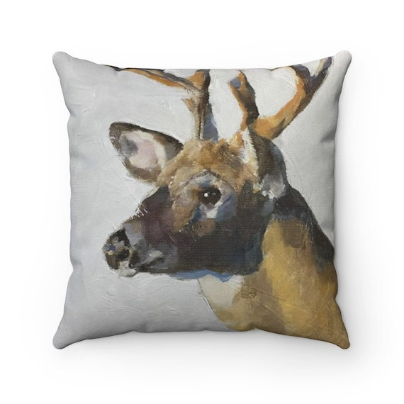 Deer Cushion Cover Pillow Case Farmhouse Decor Woodland Decor Deer Painting Home Decor Stag Original Oil Painting or Print