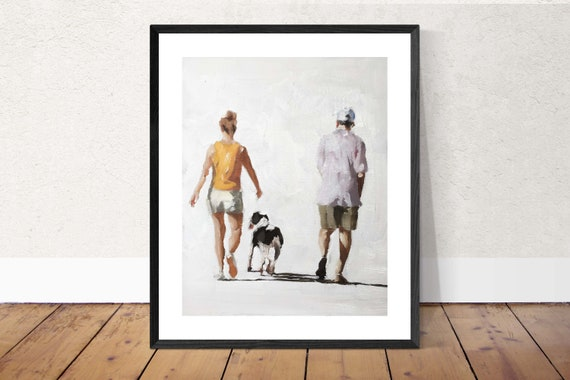 Couple Dog Painting Couple with Dog Art PRINT Walking the Dog - Art Print - from original painting by J Coates