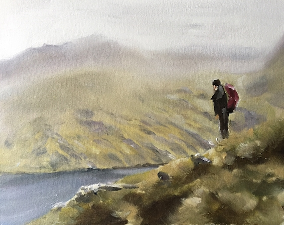 Hiker Painting Hiker Art PRINT Rambing Hill Walking Art  - Art Print  - from original painting by J Coates
