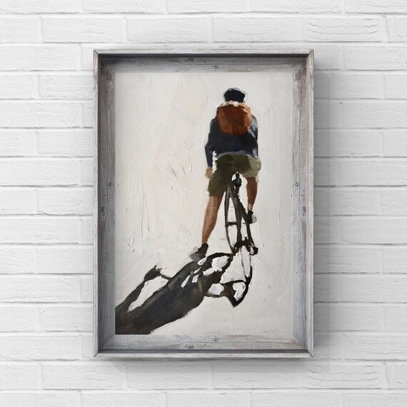 Cycling Painting Cycling Art Cycling PRINT Man on Bicycle - Art Print  - from original painting by J Coates Original Oil Painting or Print