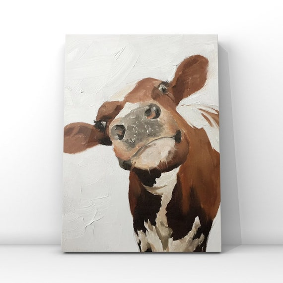Cow Oil Painting Cow Art Original Artwork of a Cow Painting Holstein Cow - cow lover gift - farmhouse decor Original Oil Painting