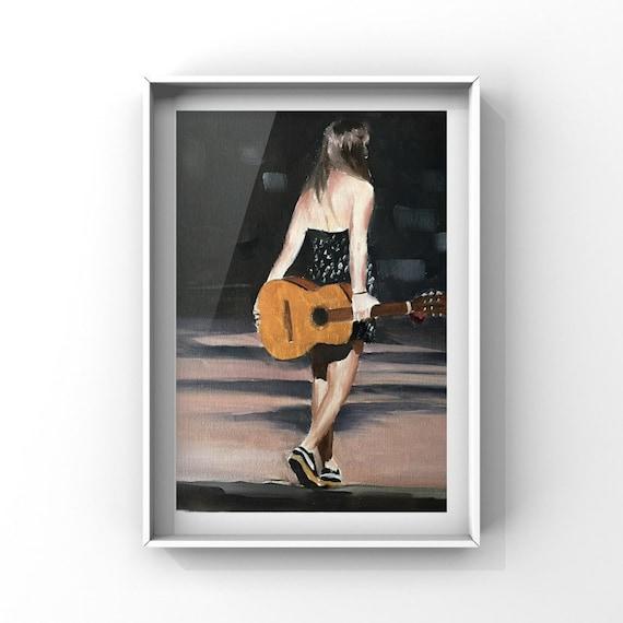 Busker Painting Female Guitar Player Art PRINT music painting - Art Print - from original painting by J Coates