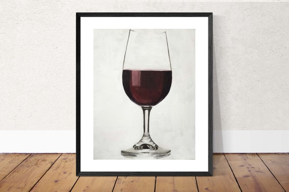 Glass Red Wine Painting Wine Glass Art Wine PRINT Glass of Red Wine  - Art Print - from original painting by J Coates