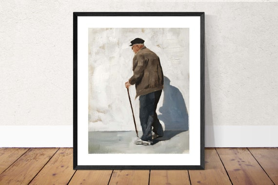 Old Man Painting Old Man art PRINT old man walking - Art Print - from original painting by J Coates