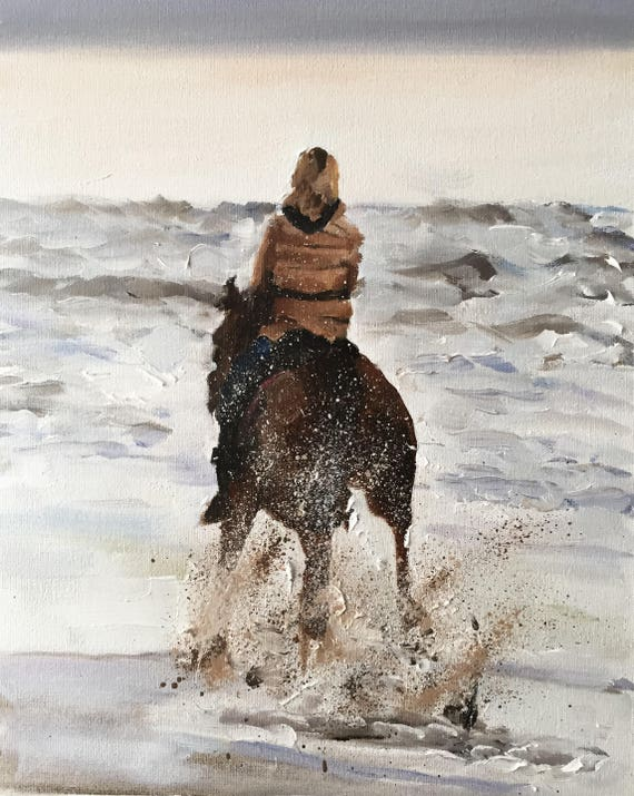 Horse Riding Painting Horse Art Horse Rider Art PRINT Horse Riding - galloping horse painting, horse riding gift, horse lover gift