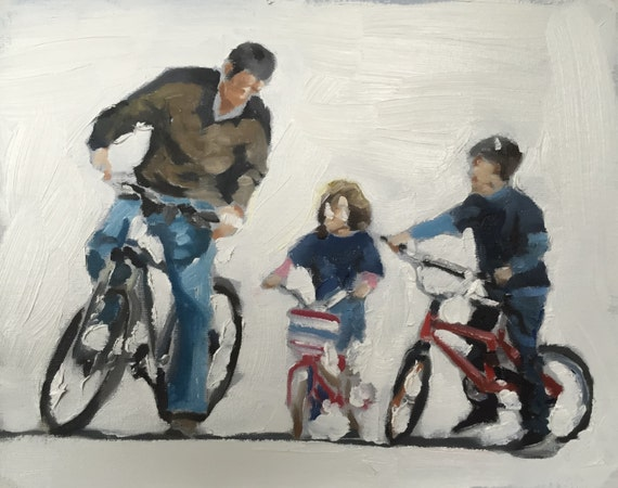 Family Painting Cycling Family Picture Art PRINT Bicycle Family - Art Print - from original painting by J Coates