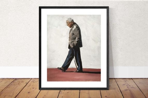 Old Man Walking Painting Walking Man Art PRINT Old Man - Art Print - from original painting by J Coates