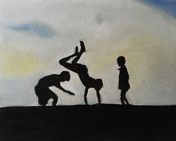 Kids painting Children playing Art PRINT Kids Playing on Hillside - Art Print  - from original painting by J Coates