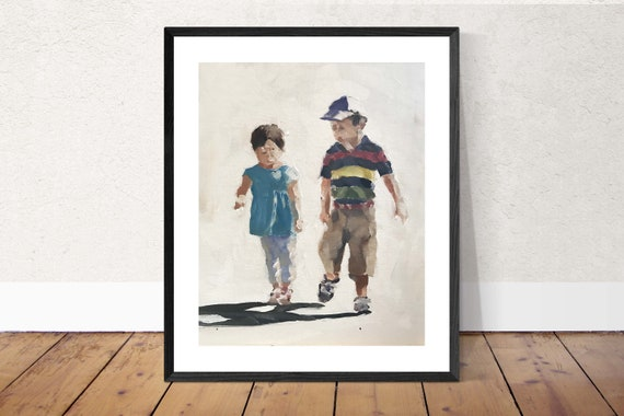 kids art, brother and sister wall art, siblings art, shared room decor. boy girl art, brother sister print, nursery wall art, kids picture