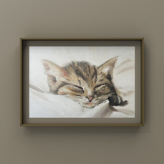 Cat Poster Print Cat Painting Cat Picture Gift Cat Lover Gift Cat Art PRINT, Art for Cat Lovers, Cat Wall Hanging - Art Print -tabby cat art