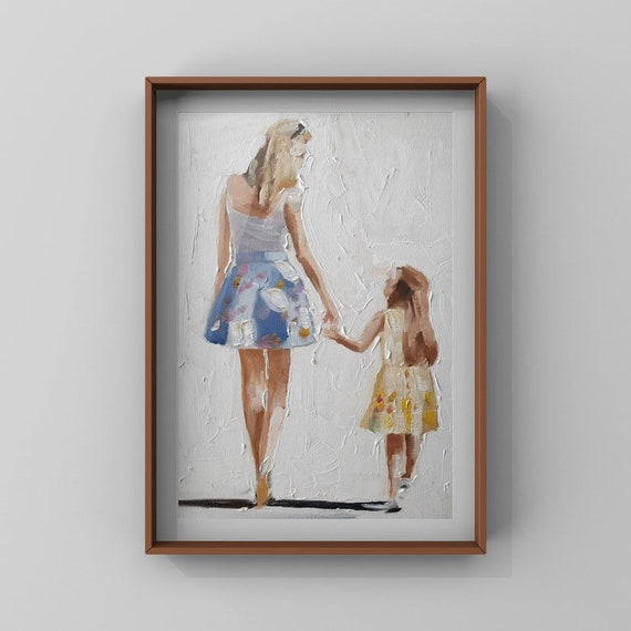Mother and Daughter Painting Mother Art Mother PRINT - Mother and Daughter Walking - Based open original oil painting by J Coates