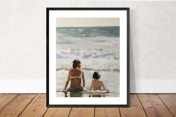 Mother Painting Beach Art PRINT Mother and Child on Beach - Art Print - Original Oil Painting or Print