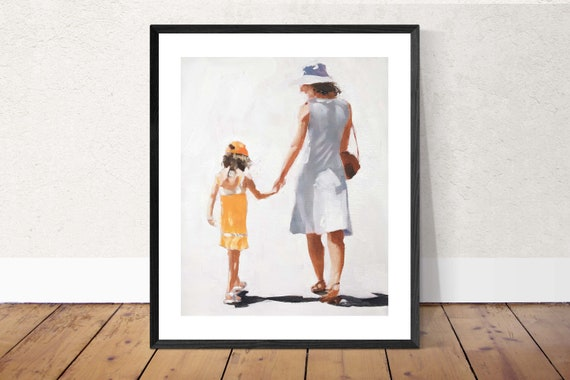 Mother painting Mum Mom Art PRINT Mother and Daughter - from original painting by J Coates Original Oil Painting or Print