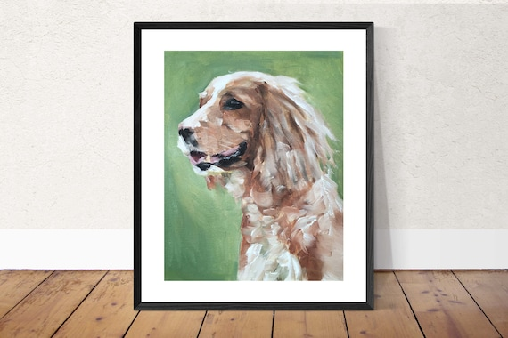 Spaniel Dog - Art Print - 8 x 10 inches - from original painting by J Coates Original Oil Painting or Print