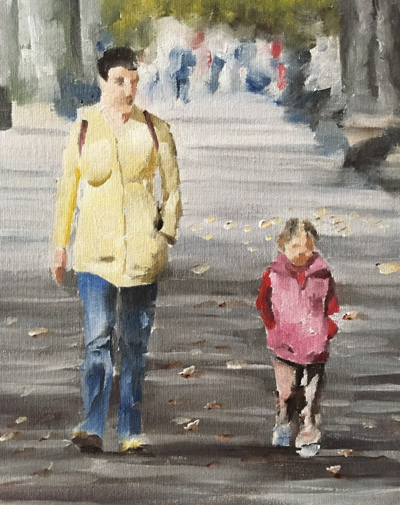 Mother and Daughter Painting Mother Art Mother PRINT - Art Print - from original painting by J Coates Original Oil Painting or Print