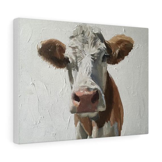Cow Painting, Cow Art, Cow PRINT - Cow Oil Painting, Holstein Cow Picture, Farmhouse Art, Farm Animal Prints, Nursery Art, Cow Wall Art