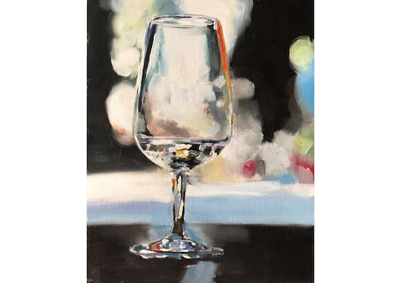 Wine Glass Painting Wine Art Wine PRINT Glass - Art Print  - from original painting by J Coates
