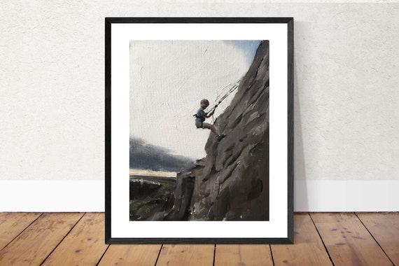Rock Climbing Painting Climbing Art Climbing PRINT Boy Abseiling Art Print - from original painting by J Coates