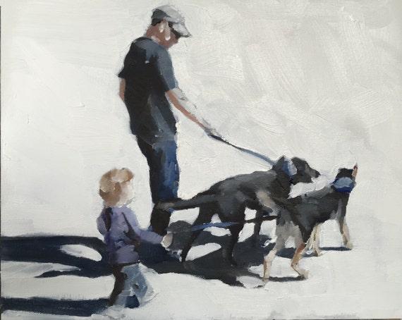 Walking the Dog Painting Dog Walking Art PRINT  - Art Print - from original painting by J Coates