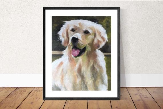 Golden Retriever Painting Dig Art PRINT Golden Retriever Dog - Art Print - from original painting by J Coates