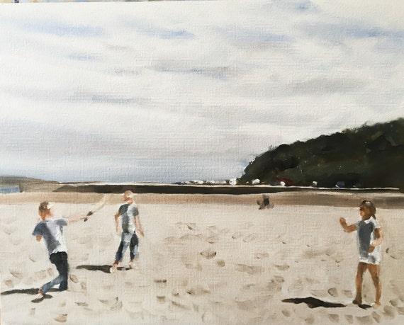 Children Beach Painting Children Beach Art PRINT Children Playing Cricket on Beach - Art Print  - from original painting by J Coates