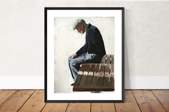 Old Man Painting Old Man on Bench Art PRINT Man on Bench - Art Print - from original painting by J Coates