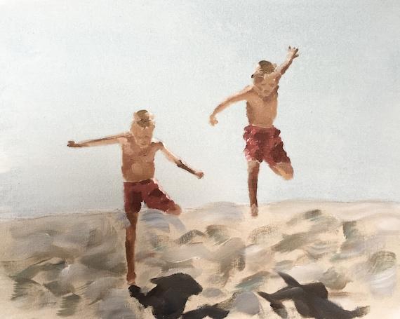 Boys on Beach Art Print, two boys painting, two sons beach paintings, beach boys prints, two brothers art, children on beach art