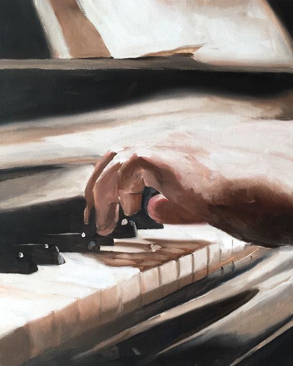 Pianist Painting Piano Player Art PRINT music painting - Art Print - from original painting by J Coates Original Oil Painting or Print