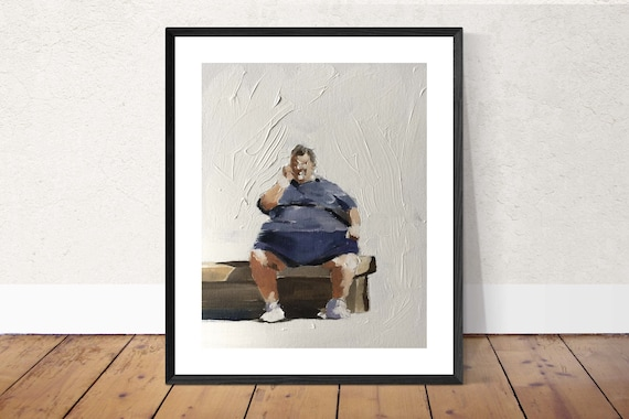 Big Man on Bench Painting Man on Bench art PRINT Man on Bench - Art Print - from original painting by J Coates