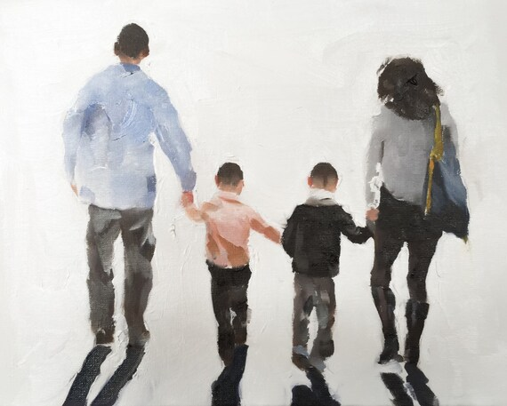 Family Walking Painting Family Picture Art PRINT Family Walk - Art Print - from original painting by J Coates