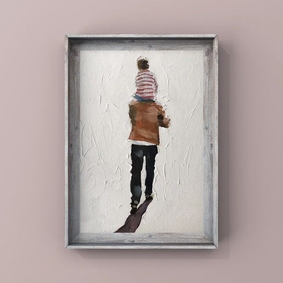 Father and son painting father son art PRINT Shoulder Ride - Dad and Son - Canvas Wall Art Print  - Gift for Dad fathers day gift