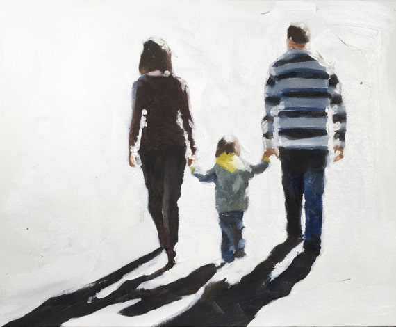 Family Walk Painting Family Painting Art PRINT Family Outing - Art Print - from original painting by J Coates