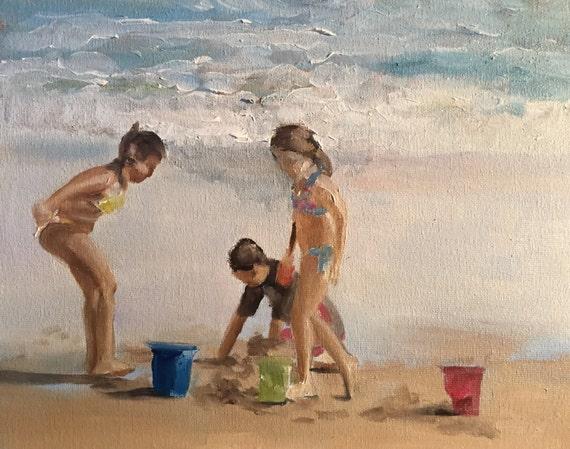 Kids Beach Painting Children Beach Art Beach PRINT Beach Fun - kids playing at beach - Art Print - from original painting by J Coates