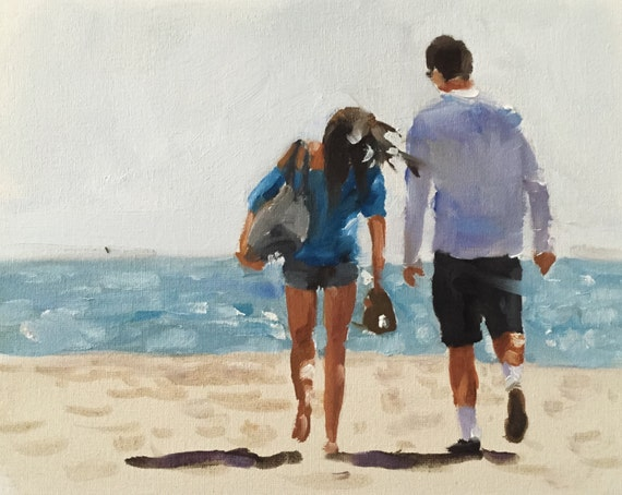 Couple Painting Couple Art PRINT beach Art Beach Couple - Art Print - from original painting by J Coates