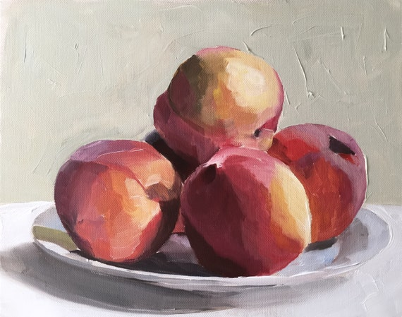 Peaches Painting Peach Still Life Art PRINT - Peaches Oil Painting Kitchen Art from original by James Coates