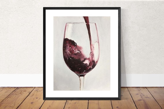 Red Wine Painting Red Wine Art Red Wine PRINT Red Wine - Art Print  - from original painting by J Coates