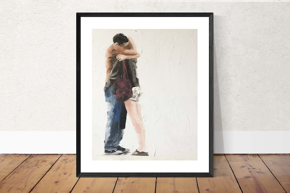 Love Painting Couple Art Love PRINT Kissing  - Art Print  - from original painting by J Coates