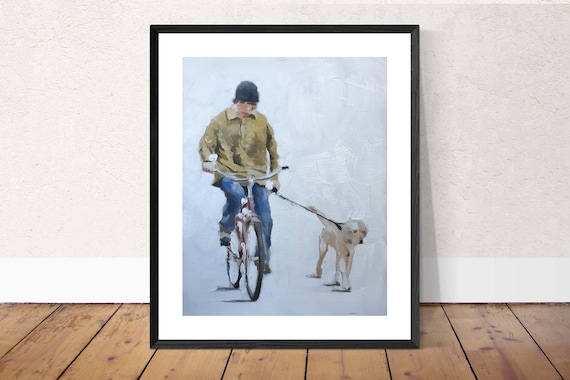 Man Cycling Painting Man With Dog Picture Art PRINT Man on Bicycle wih Dog - Art Print - from original painting by J Coates