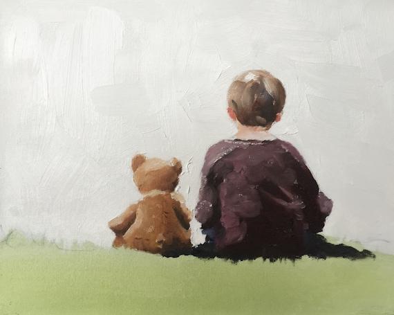 Jongen teddy bear art print kinderen jongen met teddy bear etsy