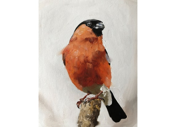 Bullfinch Bird Painting Art PRINT Bullfinch Picture  - Art Print  - from original painting by J Coates
