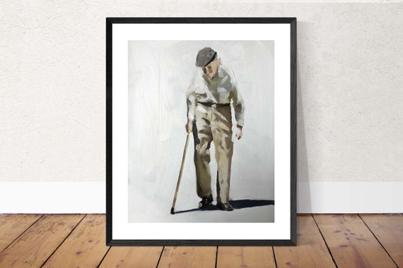 Old Man Painting Old Man Art Old Man PRINT Old Timer - Art Print - from original painting by J Coates Original Oil Painting or Print