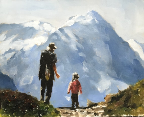 Hiking Painting Art Father Son Art PRINT On the Hill - Hikers  - Art Print  - from original painting by J Coates