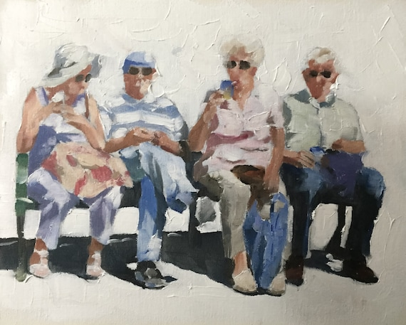 Old People on Bench  PRINT  - Art Print  - from original painting by J Coates