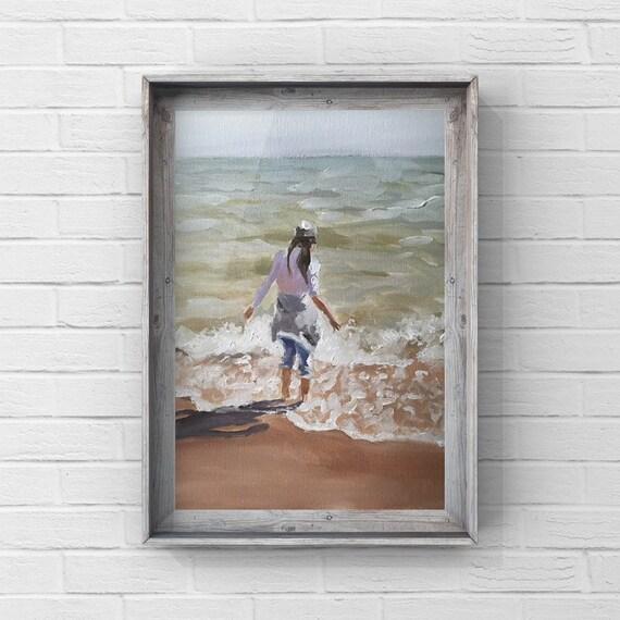 Girl Beach Painting Girl Beach Art PRINT Girl on Beach - Art Print - from original painting by J Coates Original Oil Painting or Print