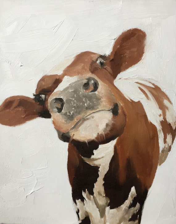 Cow Painting Cow Art PRINT of a Cow Oil Painting Holstein Cow - cow lover gift - farmhouse decor