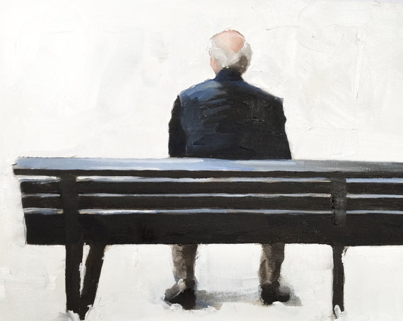 Man on Bench Painting Old Man Art PRINT Old Man on Bench - Art Print - from original painting by J Coates Original Oil Painting or Print