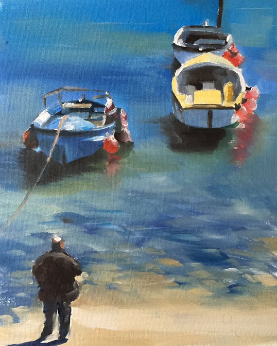 Boats Painting Boat Art PRINT Boat Beach Sea - Art Print  - from original painting by J Coates
